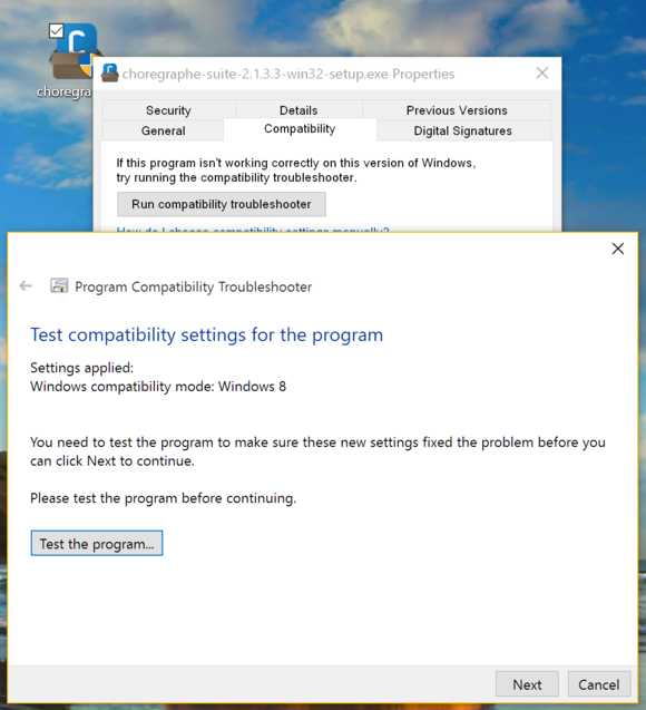 Choregraphe is not compatible with Windows 10 | SoftBank